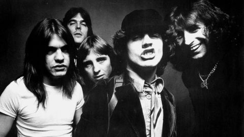 AC/DC pose for a photo in 1970.