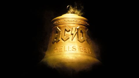 """The """"Hells Bells"""" bell is seen on stage at an AC/DC concert in 2000."""
