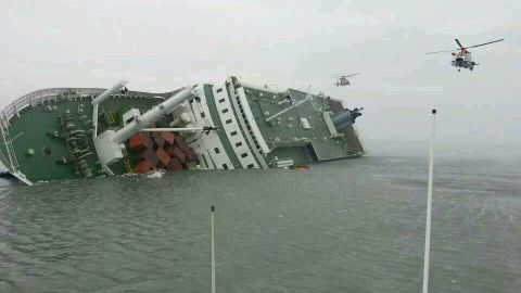 Rescue crews attempt to save passengers from the ferry on April 16.
