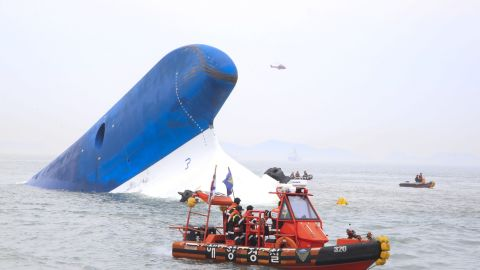 In this handout provided by Donga Daily, The Republic of Korea Coast Guard work at the site of ferry sinking accident off the coast of Jindo Island on April 16, 2014 in Jindo-gun, South Korea.