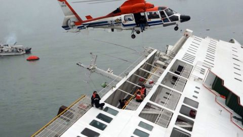 Passengers are rescued by a South Korean Coast Guard helicopter.
