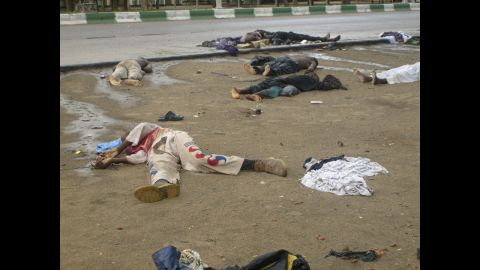 """Bodies lie in the streets in Maiduguri, Nigeria, after religious clashes on July 31, 2009. Boko Haram exploded onto the national scene in 2009 when <a href=""""http://www.cnn.com/2012/01/02/world/africa/boko-haram-nigeria/index.html"""">700 people were killed </a>in widespread clashes across the north between the group and the Nigerian military."""