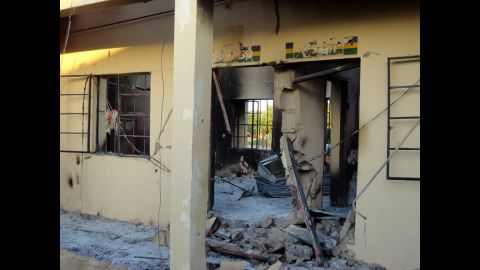 """A photo taken on November 6, 2011, shows state police headquarters burned by a series of attacks that targeted police stations, mosques and churches in Damaturu, Nigeria, on November 4, 2011. Attackers left scores injured -- <a href=""""http://www.cnn.com/2011/11/05/world/africa/nigeria-attacks/index.html"""">probably more than 100</a> -- in a three-hour rampage, and 63 people died."""