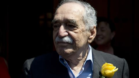 García Márquez greets the media on his 87th birthday in Mexico city on March 6.