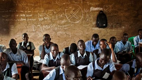 Students take notes during an English language class at the Juba Nabari Primary School in Juba, South Sudan, on Wednesday, April 9. Recent conflict in the country has made resources scarce; many civil servants, including teachers, have not received their pay for several months. South Sudan erupted in violence on December 15 when rebels loyal to ousted Vice President Riek Machar tried to stage a coup. Violence quickly spread, with reports of mass killings emerging nationwide.