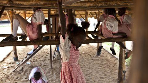Students play Tuesday, March 25, at the Dr. John Garang International School in Juba.