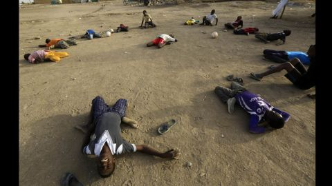Displaced children from South Sudan gather to play soccer at a camp in Khartoum, Sudan, on Wednesday, March 12.
