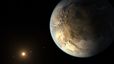 """A team of astronomers announced April 17, 2014, that they discovered the first Earth-size planet orbiting a star in the """"habitable zone"""": the distance from a star where liquid water might pool on the surface. That doesn't mean this planet has life on it, says Thomas Barclay, a scientist at the Bay Area Environmental Research Institute at Ames and a co-author of a paper on the planet, called Kepler-186f. He says the planet can be thought of as an """"Earth-cousin rather than an Earth-twin. It has many properties that resemble Earth."""" The planet was discovered by NASA's Kepler Space Telescope. It's about 500 light-years from Earth in the constellation Cygnus. The picture above is an artist's concept of what it might look like."""
