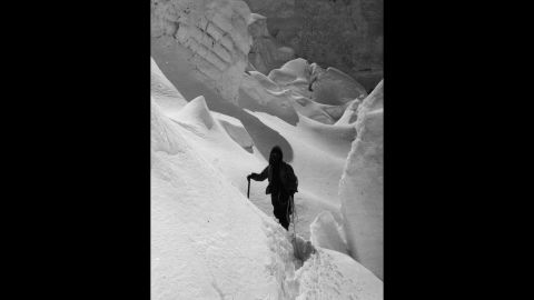 Shipton leads an expedition exploring the Khumbu Glacier icefall in November 1951.