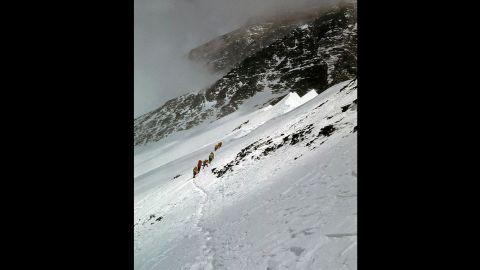 Whittaker's team members climb Everest's West Ridge in 1963.