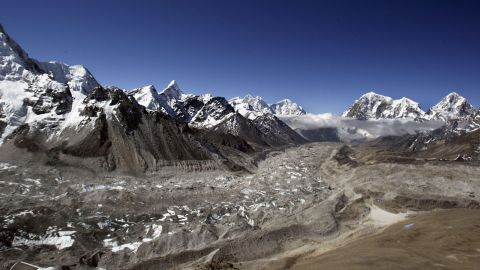 On April 5, 1970 six sherpas die in an avalanche at the Khumba icefall.  The icefall, at the head of the Khumbu Glacier, seen here in 2003, is one of the more treacherous areas of the ascent.