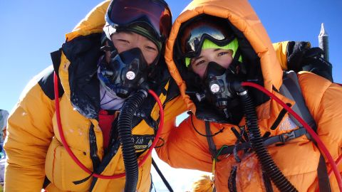 Jordan Romero became the youngest person to reach the summit, at age 13, on May 22, 2013. Jordan, right, is seen here on the summit with one of the Sherpas who helped him make the ascent.