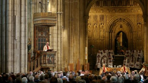 Archbishop of Canterbury Justin Welby delivers his sermon during the Easter service at Canterbury Cathedral in Kent, England.