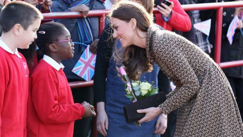 """""""An absolute frenzy"""" is how a spokesperson for Orla Kiely described the label's website after Kate was photographed wearing it's bird-print jacquard dress at Rose Hill Primary school, Oxford in February 2012."""