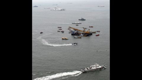 The search for victims continues April 22 in the waters of the Yellow Sea.
