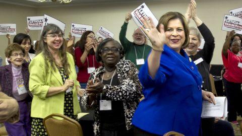 Senator Leticia Van de Putte arrives to speak at the Texas Democratic Women's Convention  in Austin, Texas on Saturday, Feb. 22, 2014.