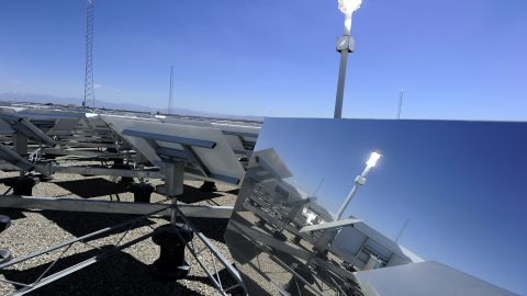 """<strong>Concentrated solar plants</strong> -- where rows of mirrors reflect the suns rays into a central generator tower -- already work a lot like a field of flowers. As the sun tracks across the sky, the shining mirrors rotate to follow it. But researchers at MIT have found that plants have more to offer -- and the secret is in the center of a <strong>sunflower</strong>. They tried to find the most efficient layout for a field full of mirrors and found their strange spiral-shaped answer<a href=""""http://www.wired.co.uk/news/archive/2012-01/11/solar-biomimicry"""" target=""""_blank"""" target=""""_blank""""> matched the arrangement of sunflower seeds in the head of the plant</a>."""