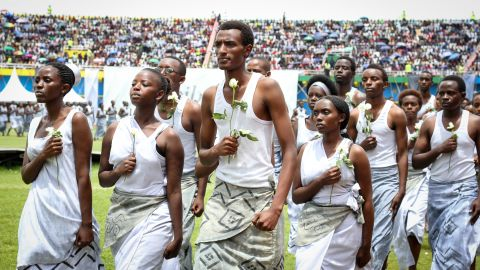 Young Rwandans, pictured here performing at Kigali's Amahoro Stadium on April 7, have played a big role in the commemoration events.