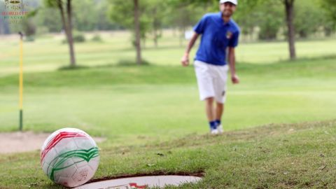 FootGolf combines elements of football and golf, with players kicking a football around a golf course complete with bigger holes.