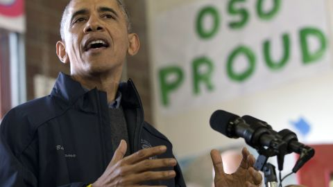 President Barack Obama speaks to first responders, recovery workers and community members at the Oso Fire Department in Oso, Wash., Tuesday, April 22, 2014, the site of the deadly mudslide that struck the community in March. (AP Photo/Carolyn Kaster)