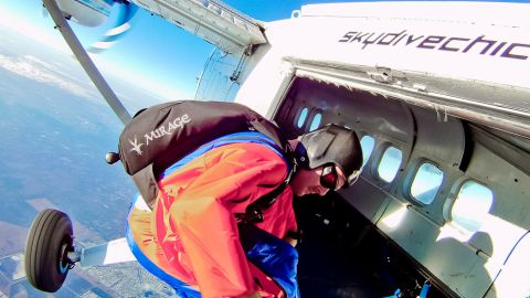 <strong>Climbing soles:</strong><br /><strong> </strong><br />For BASE jumping -- where pilots often have to climb to precarious mountain edges before a jump -- heavy duty studded rubber pads on the soles of the feet provide extra grip for the wingsuit pilot as he or she prepares to jump.