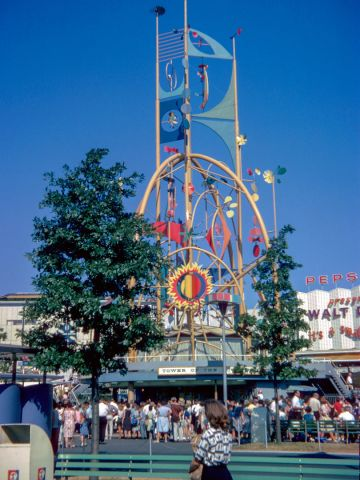 """The Tower of the Four Winds stood in front of Disney's """"It's a small world."""""""