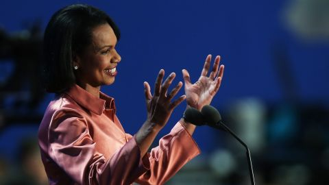 TAMPA, FL - AUGUST 29:  Former U.S. Secretary of State Condoleezza Rice speaks during the third day of the Republican National Convention at the Tampa Bay Times Forum on August 29, 2012 in Tampa, Florida. Former Massachusetts Gov. Mitt Romney was nominated as the Republican presidential candidate during the RNC, which is scheduled to conclude August 30.