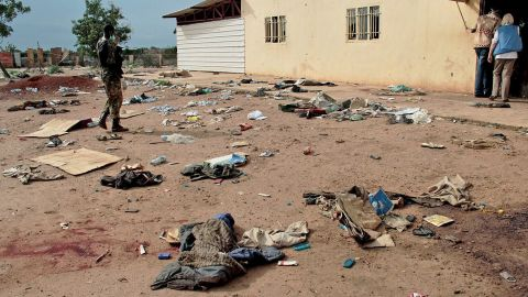 """This handout picture taken on April 15, 2014 and released on April 23 by the the United Nations Mission in South Sudan (UNMISS) shows debris outside the Kali-Ballee Mosque in the oil town of Bentiu, Unity State, on April 15, 2014. """"More than 200 civilians were reportedly killed and over 400 wounded, """" the UN mission in the country said, adding there were also massacres at a church, hospital and an abandoned UN World Food Programme (WFP) compound. South Sudan's army has been fighting rebels loyal to sacked vice president Riek Machar, who launched a renewed offensive this month targeting key oil fields. AFP PHOTO / HO / UNMISS  RESTRICTED TO EDITORIAL USE - MANDATORY CREDIT """"AFP PHOTO / HO / UNMISS """" - NO MARKETING NO ADVERTISING CAMPAIGNS - DISTRIBUTED AS A SERVICE TO CLIENTS-/AFP/Getty Images"""