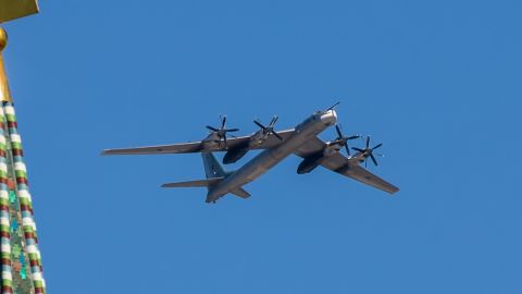 """The Russian TU-95 """"Bear"""" is a large, four-engine turboprop-powered strategic bomber and missile platform."""
