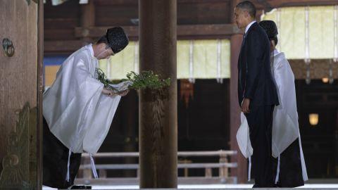 Obama receives a blessing at Meiji Shrine in Tokyo on April 24.
