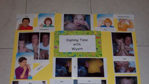 """<a href=""""http://ireport.cnn.com/docs/DOC-1114287"""">Cynthia Falardeau</a>'s son Wyatt initially used picture cards to communicate, but that was not enough for his peers to understand him, so the family moved to sign language. They bought a set of signing videos for his preschool class so the other children could communicate with him. He's now 11 and is very verbal."""