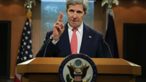 WASHINGTON, DC - APRIL 24: U.S. Secretary of State John Kerry makes a statement on Ukraine at the briefing room of the State Department April 24, 2014 in Washington, DC. Kerry spoke on the current situation in Ukraine and said that the window for Russia to change course is closing. (Photo by Alex Wong/Getty Images)