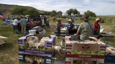 """Bundy family members and supporters of rancher Cliven Bundy set up for a """"Patriot Party"""" on April 18. The family organized the party to thank people who supported Cliven Bundy in his dispute with the Bureau of Land Management."""