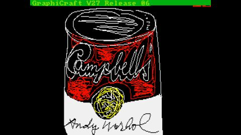 Warhol used the Amiga to create this version of a Campbell's soup can.