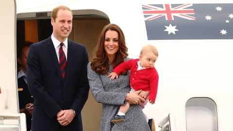 The royal family leaves an airbase in Australia to head back to the United Kingdom on April 25. They took a three-week tour of Australia and New Zealand. It was the first official trip overseas since George's birth.