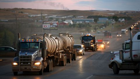 Traffic generated by an oil boom lines the main street in Watford City, North Dakota, on October, 11, 2011. The Bakken oil formation, which stretches from South Dakota into Saskatchewan and could contain more than 4 billion barrels of oil, has sparked an oil boom in towns like Watford City.