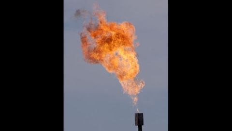 Gas flares at a water facility at the Niobrara oil shale formation in Colorado in May 2012.