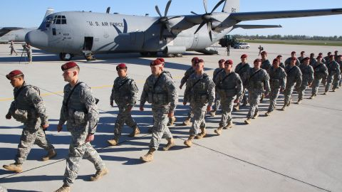 U.S. troops arrive at an air force base near Siauliai Zuokniai, Lithuania, on April 26. The United States is conducting military exercises in Poland, Latvia, Estonia and Lithuania. The exercises are, in part, a response to the ongoing instability in Ukraine.