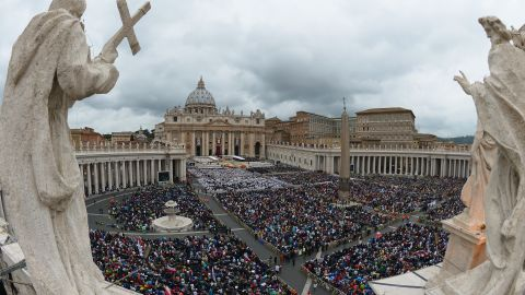 A large crowd gathers in St. Peter's Square for the canonization Mass for Popes John XXIII and John Paul II on April 27.