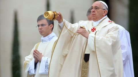 Pope Francis leads the canonization Mass, in which John Paul II and John XXIII were declared saints, in Vatican City on April 27.