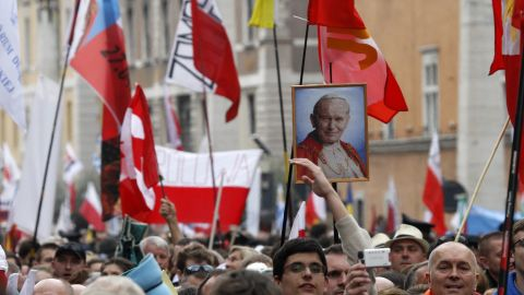Pilgrims crowd St. Peter's Square to attend the ceremony for the canonizations of Pope John XXIII and Pope John Paul II on April 27.