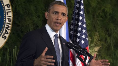US President Barack Obama speaks during a bilateral press conference with the Philippines President Benigo Aquino (not in picture) at Malacanang Palace in Manila on April 28, 2014.