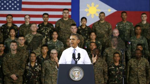 U.S. President Barack Obama addresses U.S. and Philippine troops in Manila, Philippines, on Tuesday, April 29. The Philippines was the last stop on Obama's four-country tour of Asia.