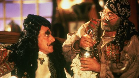 """In 1991's <strong>""""Hook,""""</strong> Hoskins plays Smee, the assistant to the evil Captain Hook (Dustin Hoffman)."""