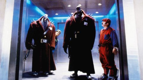 """Hoskins took on the occasional lighthearted role. In 1993's <strong>""""Super Mario Bros.,""""</strong> he plays Mario Mario, brother of Luigi Mario (John Leguizamo, left) and foe of dinosaurlike humanoids."""