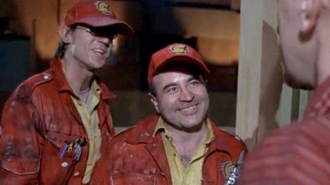 """In 1985's<strong> """"Brazil,""""</strong> Hoskins, here with Derrick O'Connor, left, plays a repairman from the bureaucratic and dysfunctional Central Services who's sent to fix a ventilation system."""
