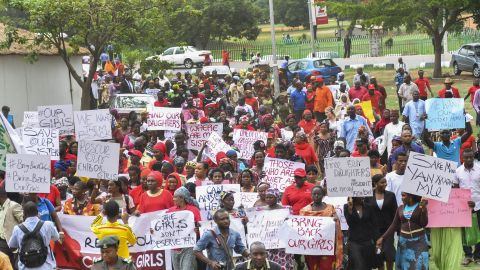 """Protesters take part in a """"million-woman march"""" Wednesday, April 30, in Abuja."""