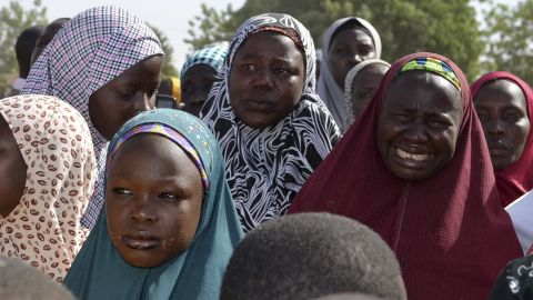 Mothers weep April 22 during a meeting with the Borno state governor in Chibok.