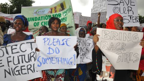 Women attend a demonstration calling on the government to rescue kidnapped schoolgirls of a government secondary school Chibok, in Abuja, Nigeria on Wednesday, April 30.