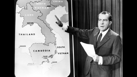 President Richard Nixon addresses the nation in April 1970 to explain the expansion of the Vietnam War into Cambodia. Anti-war activists all over the country, including at Kent State, saw this as a betrayal by the President, who promised to end the war when he was elected fewer than two years earlier.